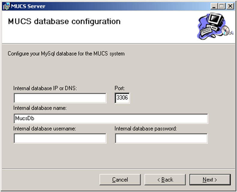 MUCS Server Datenbank Konfiguration